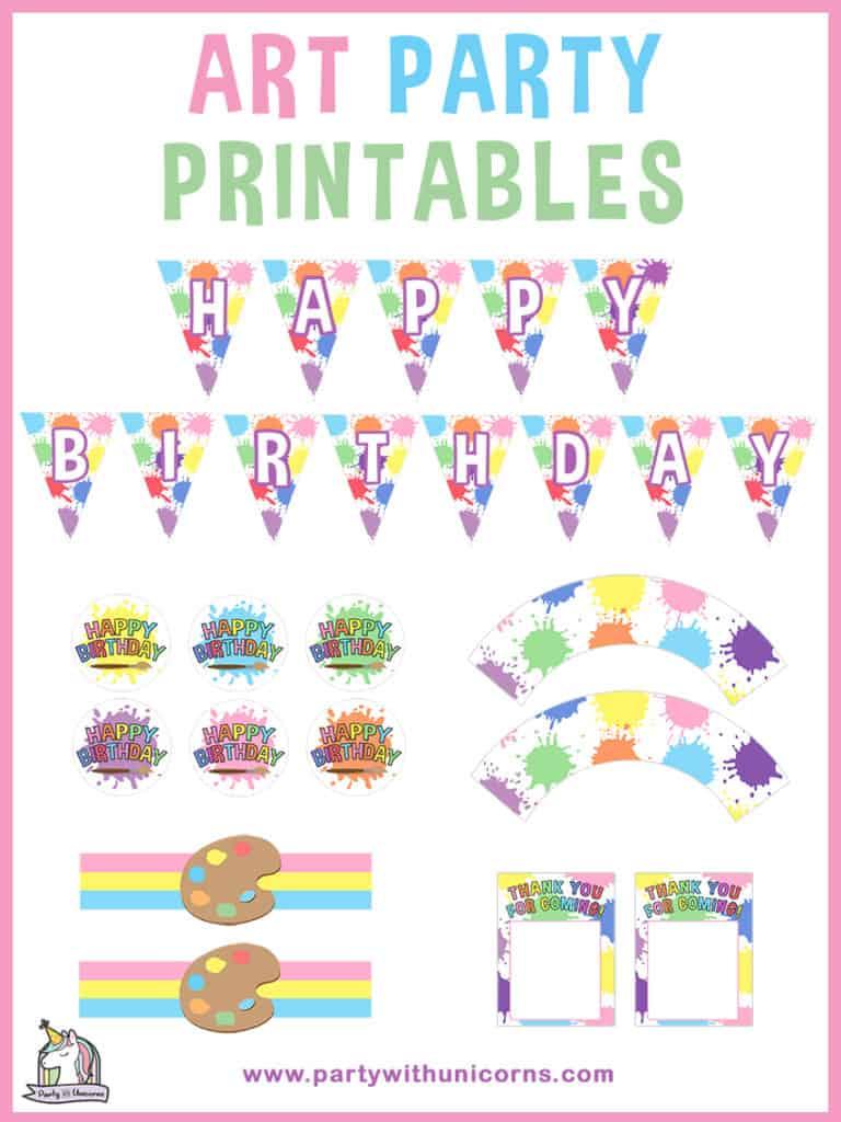 Free Art Party Printables Set