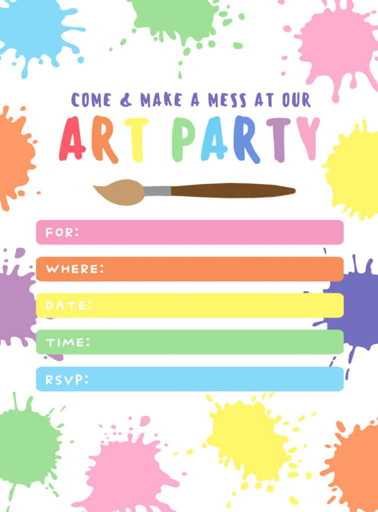 Art Party Invitation Template