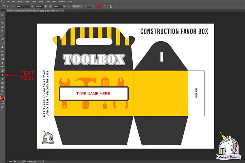 Toolbox Favor template photo