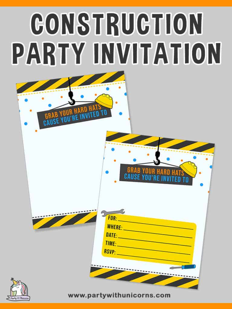 construction birthday theme party invites