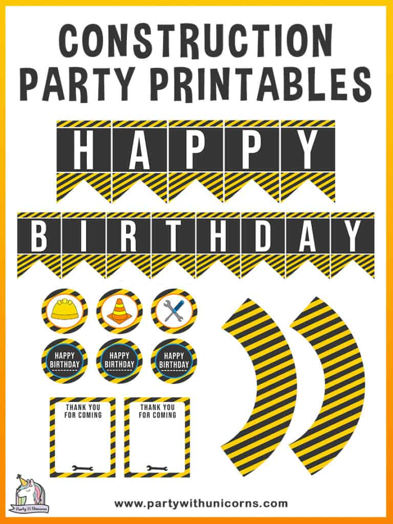 Download this free set of Construction Party Printables to use at your event. The set includes Construction Cupcake Toppers, Construction Cupcake Wrappers, Construction Thank you Cards, Construction Birthday Banner.