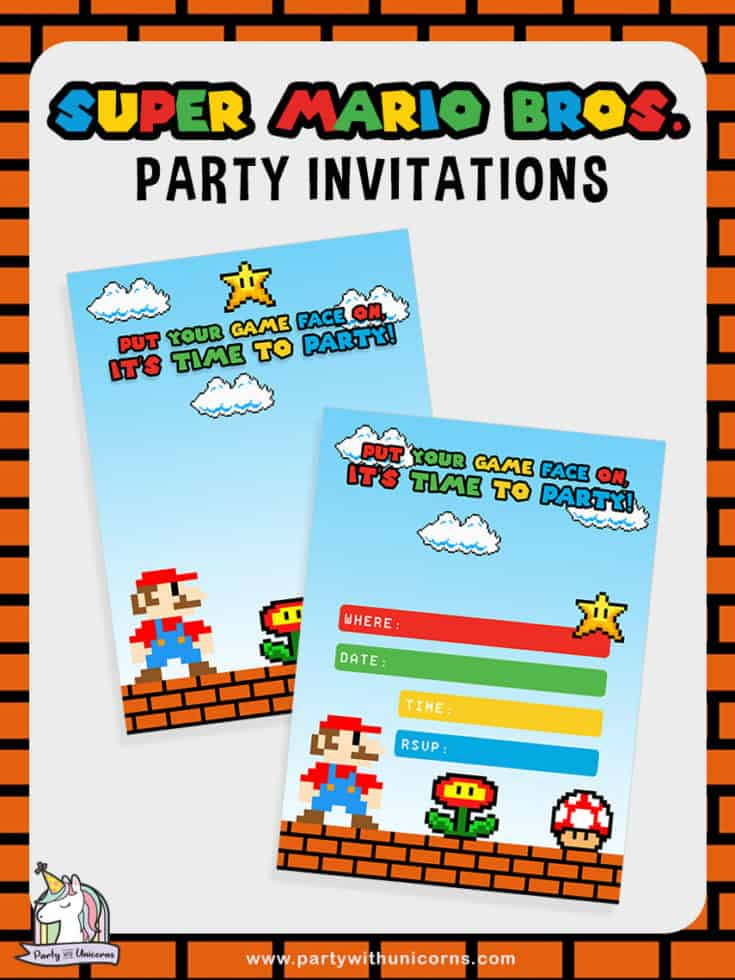 Free Super Mario Bros Party Invitation