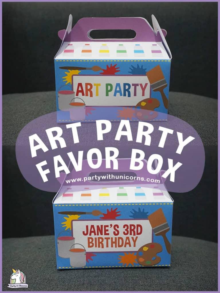 Art Party Favor Box Template