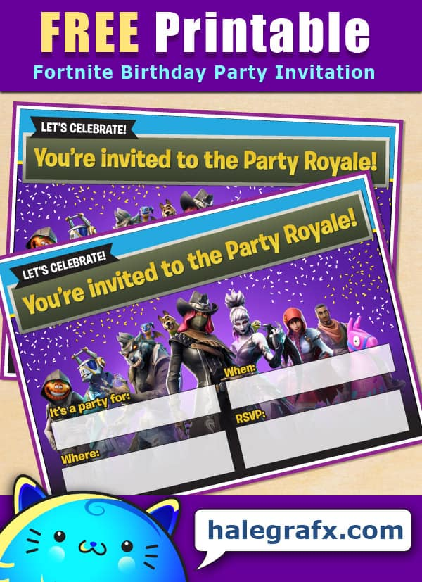 FREE Printable Fortnite Birthday Party Invitation