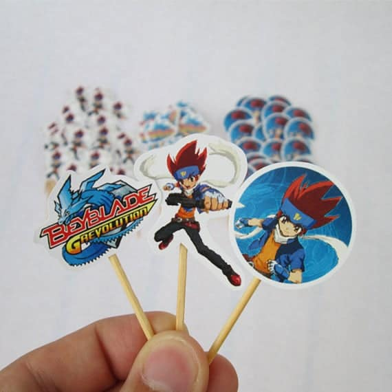 Paper Beyblade Cupcake Toppers