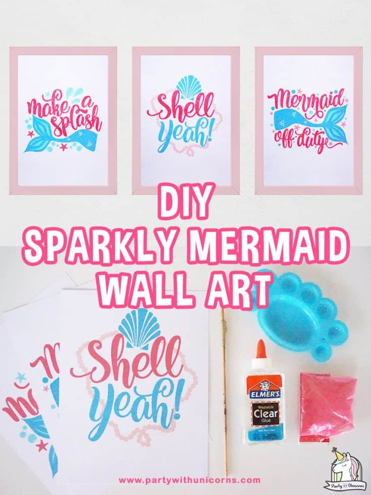 DIY Mermaid Wall Art. Easy step by step instructions to create super cute Mermaid artwork collection.