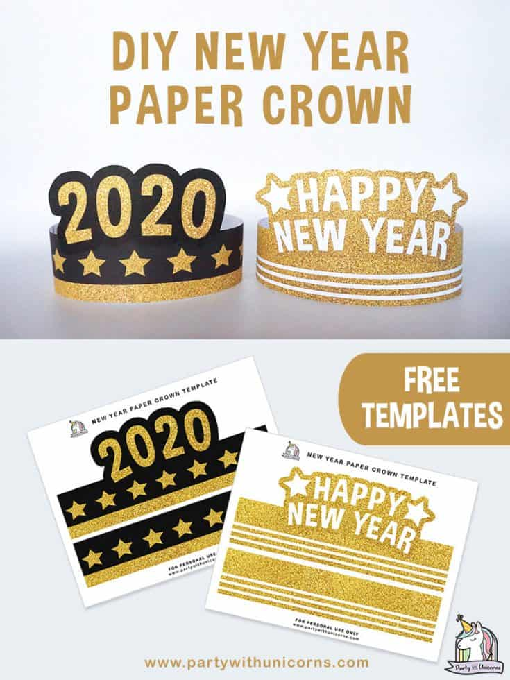 DIY New Year Paper Crown craft for kids.  Free printable templates available for you to download and use at your NYE 2020 Event.