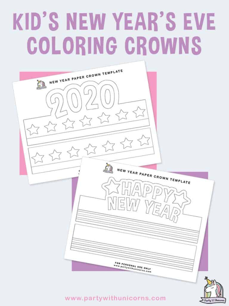 New Years Coloring Crowns