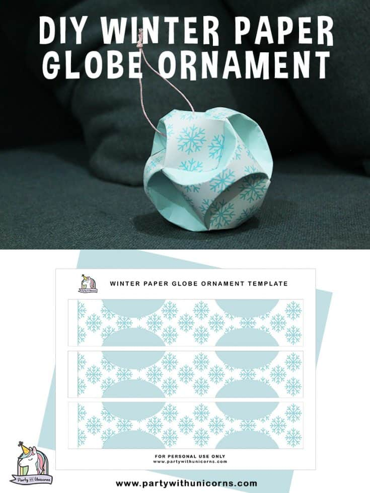 Snowflake Globe Ornament. An easy to follow tutorial with free printable template. An easy to craft for kids of all ages.