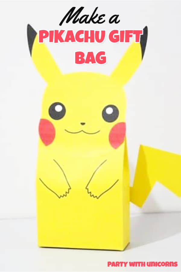 Download a free template and make a Pickachu gift bag. Perfect for a Pokemon Party Favor or Decoration.