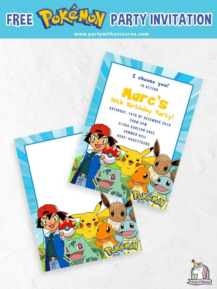 This is a photo of Pokemon Party Invitations Free Printable with regard to pikachu