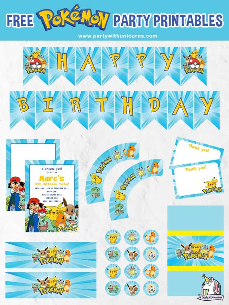 Pokemon Party Printables set