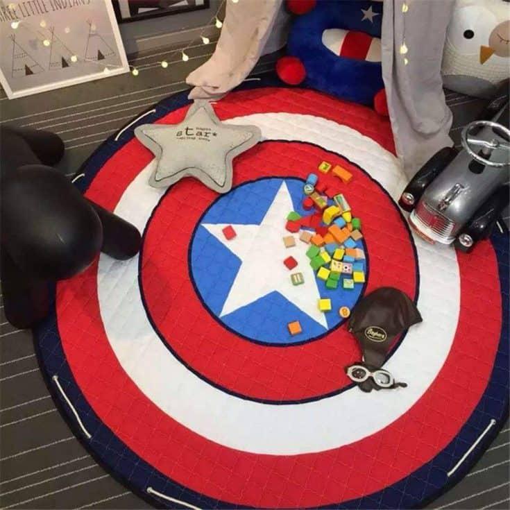 Superhero Captain America Bedroom Rug