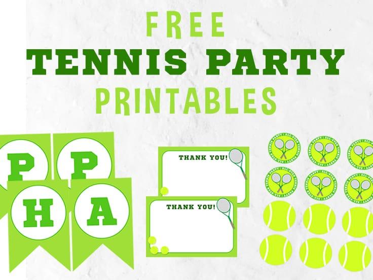 Tennis Party Printables set