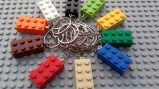 Pack of 10 x Colourful Brick Key Rings