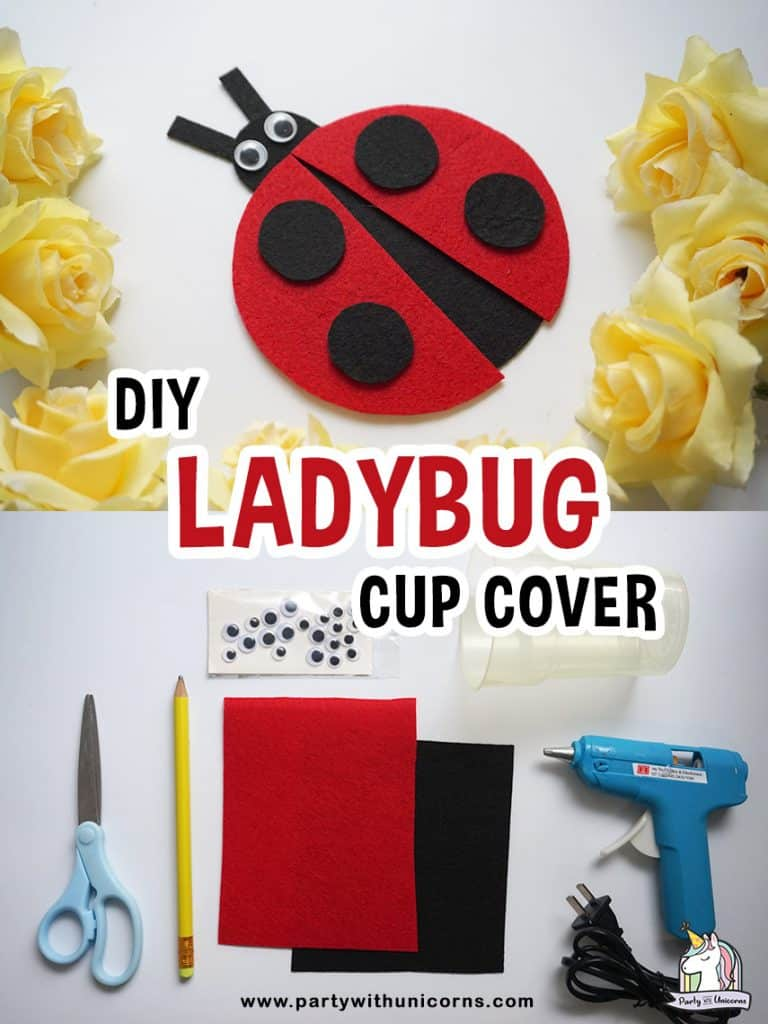 Felt Lady bug cup cover craft for kids