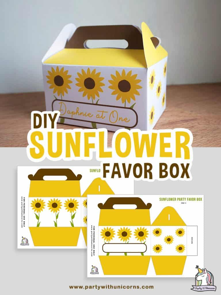 Free Template to Creat a Sunflower Favor Box.