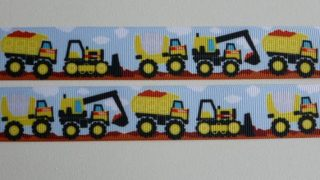 "Construction Trucks Grosgrain ribbon 25mm/1"" wide x 1 meter"