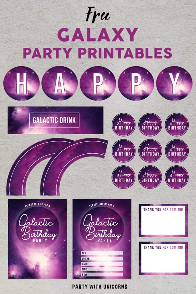 FREE Galaxy Party Printables set for download