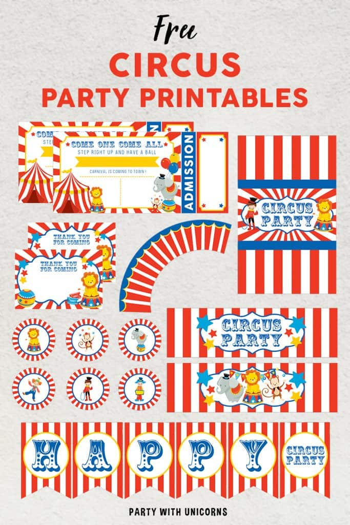 A set of free Circus Party Printables Set