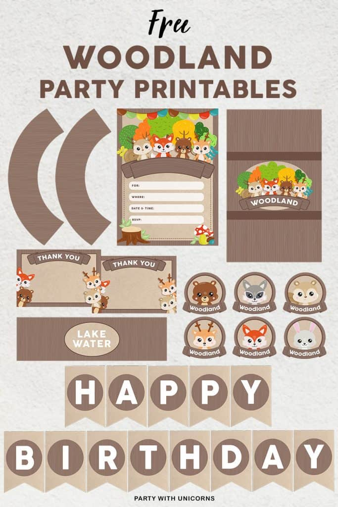 A Free set of woodland party printables available for download. perfect for a woodland birthday party or Woodland Baby shower.