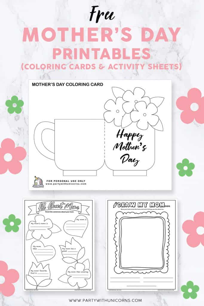 Mother's Day Printables (Coloring Cards & Activity Sheets for Kids)