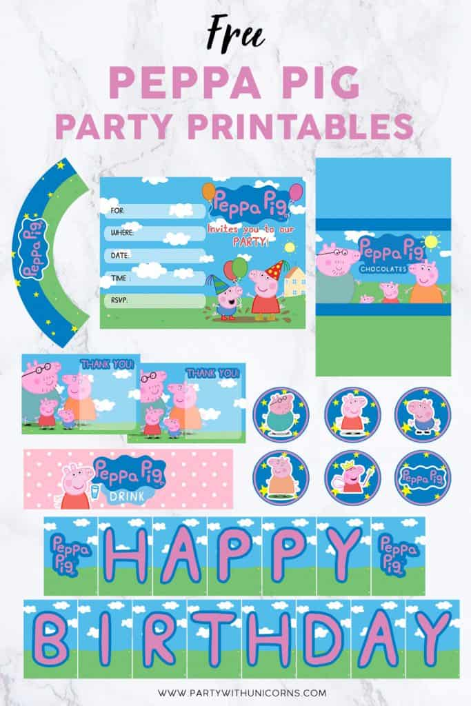 Peppa Pig Party Printables Set for download