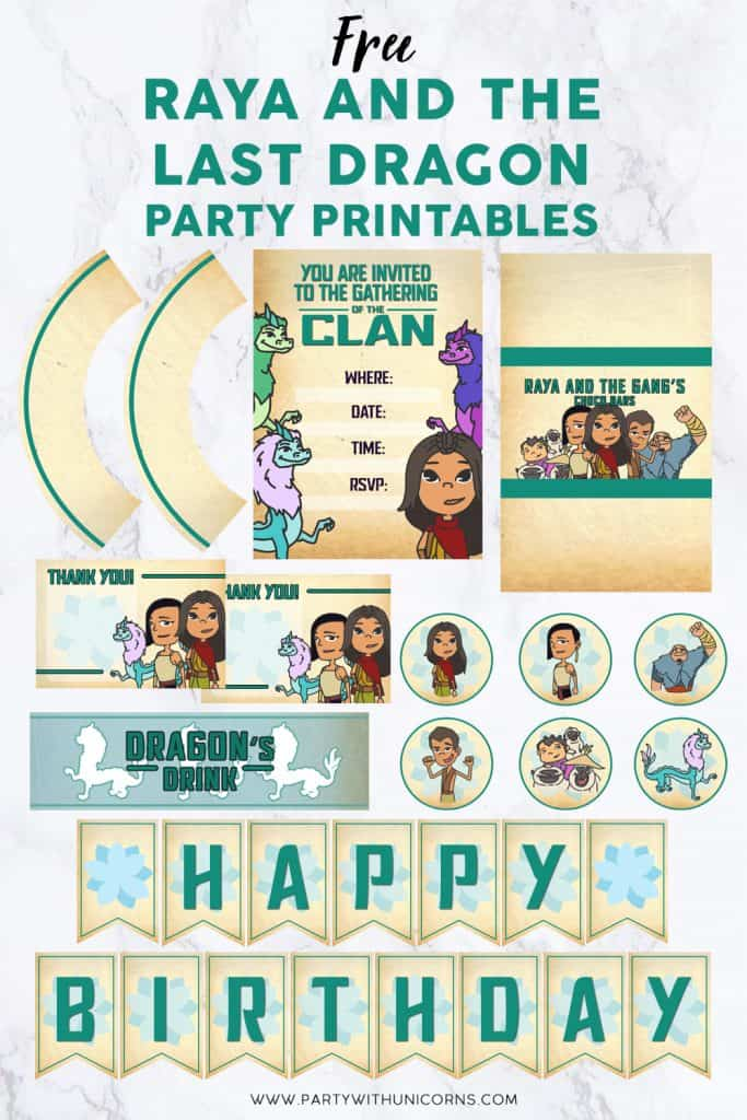 Raya and the Last Dragon Party Pinterest Tile Template - Party Printables image
