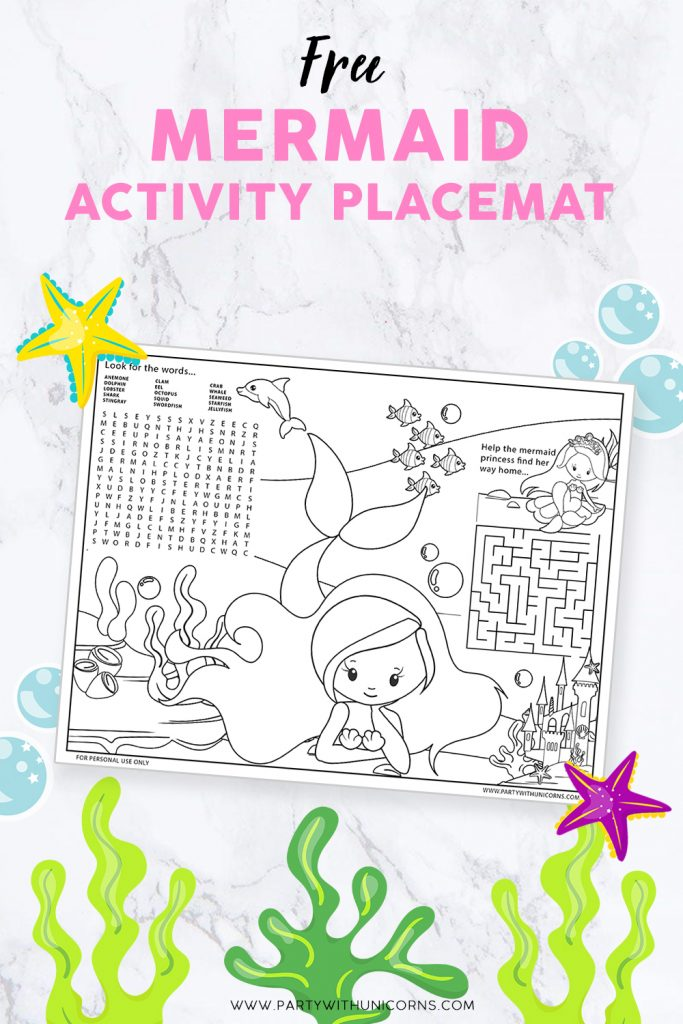 Free Mermaid Activity placemat