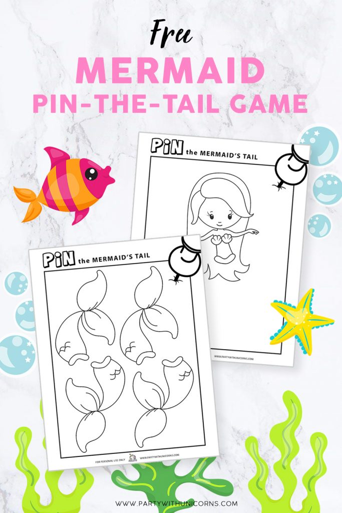 Pin the tail on the mermaid game printable