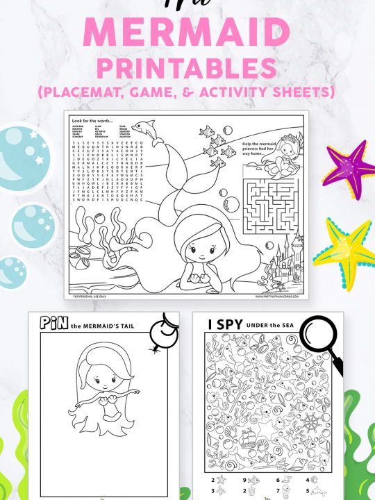 Mermaid Printables set including a printable placemat, a wordsearch, a mermaid iSpay and pin the tail on the mermaid game